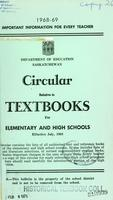 1968 Circular relative to textbooks for elementary and high schools