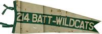 Banner '214 Batt Wildcats' - green and white - brown stains