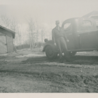 """Dean Allan with """"Power Wagon"""" in yard at Crossing"""
