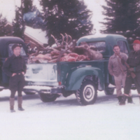 Yard of Rabbit Creek Warden Station with results of elk cull ready to be transported to Prince Albert, 1959-60