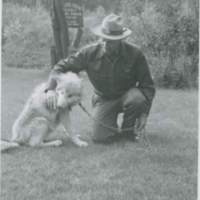 Dean Allan on front lawn, Silver Grove warden station with Tammy 1968