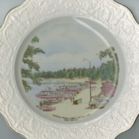 """Waskesiu Prince Albert National Park Sask, Canada"" white molded china souvenir plate"