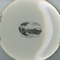 """Lake Waskesiu, Prince Albert National Park, Canada"" white china souvenir plate"