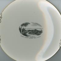 """Lake Waskesiu, Prince Albert National Park, Canada"" white china souvenir plate"