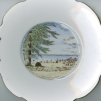 """Waskesiu Lake, Saskatchewan, Canada"" white china souvenir plate"