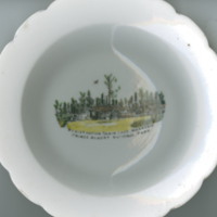 """Registration Cabin Lake Waskesiu Prince Albert National Park"" white china souvenir bowl"