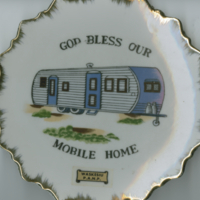 """God Bless Our Mobile Home"" white china souvenir plate"