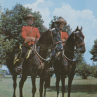 Two members of the Royal Canadian Mounted Police - Greetings from Waskesiu, Sask., Canada