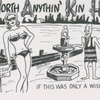 """Up North Anythin' Kin Happin! Man oh Man! If this was only a wishingwell"" postcard"
