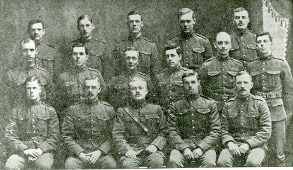mage of the University Company of the 28th Battalion. The people in the photo are: back row - A.G. Gruchy, C. Day, H. Barr, C.A. Scott and L. Brehaut; middle row - H. Berry, W. Garrod, H. Olding, J.B. Allen, W. Burd and Corpl. W.E. Lloyd; front row - Sgt. A.S. Lloyd, Sgt. J.E. Reaney, Lieut. B. Smith, Sgt. H. Spackman and Sgt. R.J. Bateman.